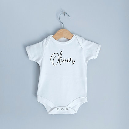 Personalised White Baby Bodysuit With Name