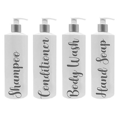 250ml Four White Reusable Pump Bottles With Custom Grey Text