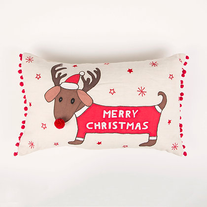Dachshund Merry Christmas Cushion