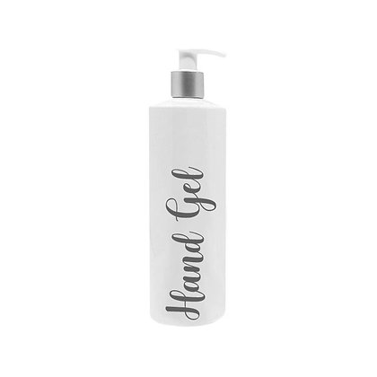 250ml White Reusable Pump Bottle With Custom Grey Text