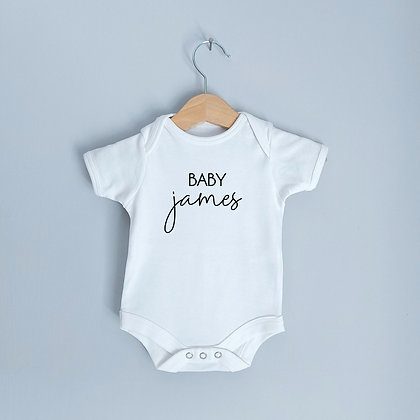 Personalised Baby Babysuit In White With Surname/Name