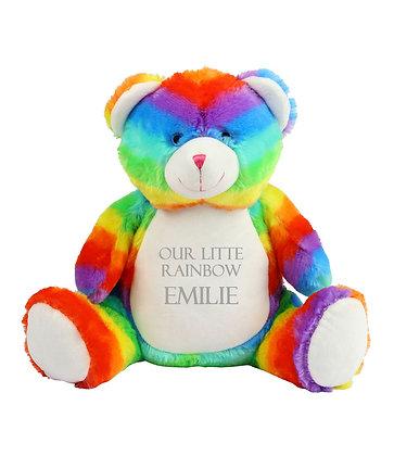 Personalised Rainbow Teddy Bear Soft Toy