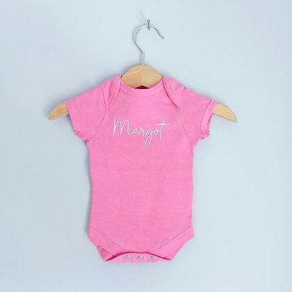 Personalised Pink Baby Bodysuit With Name