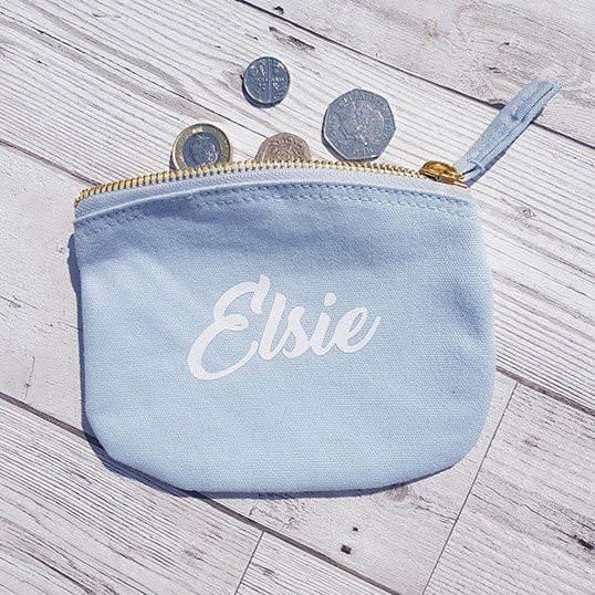 personalised named purse school club coin purse gift present