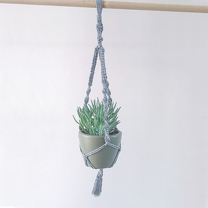 Handmade Grey Macrame Indoor Plant Hanger