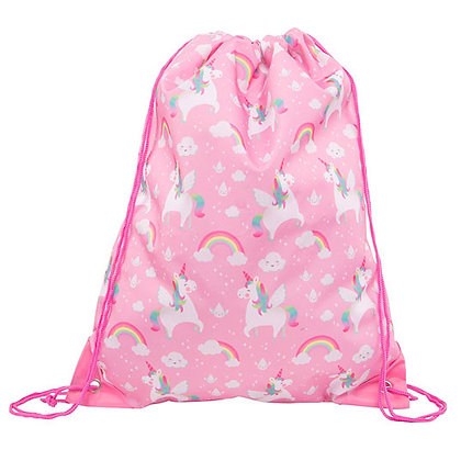 Pink Unicorn Drawstring Bag With Optional Personalisation