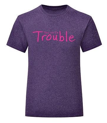 Girlie Fit Purple Heather Trouble T-Shirt