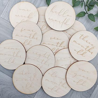 Set Of 14 Wooden Milestone Discs
