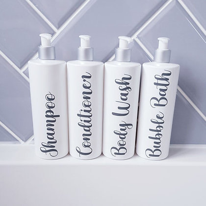 500ml Four White Reusable Pump Bottles With Custom Grey Text