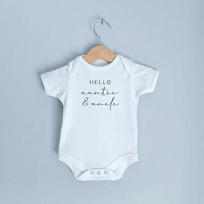 Hello Auntie & Uncle Baby Bodysuit / Babygrow