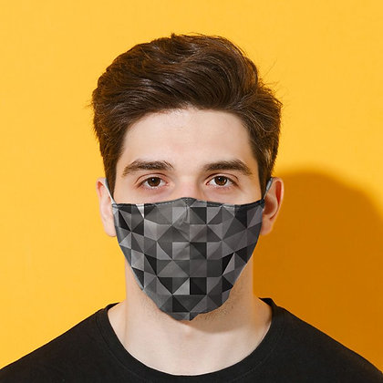 Adults Grey/Black Geometric Washable Face Covering
