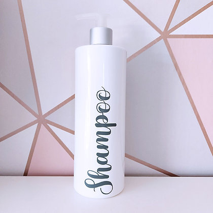 500ml White Reusable Pump Bottle With Custom Grey Text