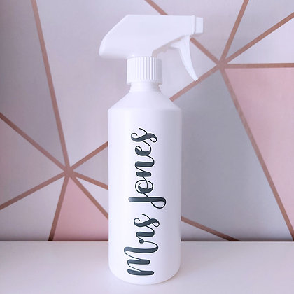 White Reusable Spray Bottle With Custom Grey Text