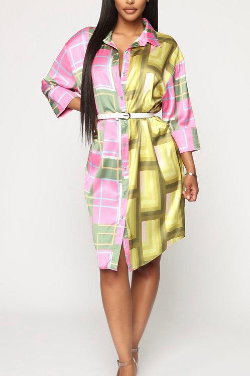 Geometric Print Mini Satin Shirt Dress