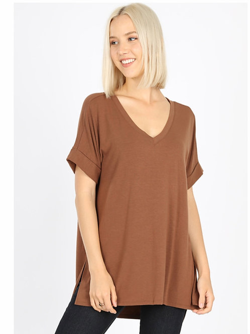 Rolled Sleeve High Low Top