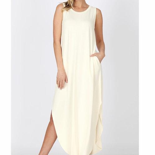 Ivory Side Split Dress