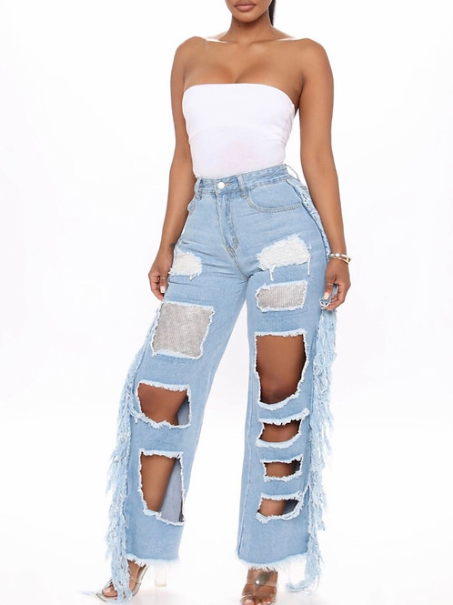 Street Hollow-Out Jeans