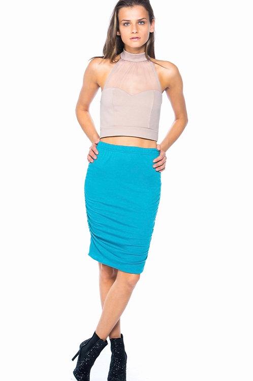Teal Ruched Seam Midi Skirt