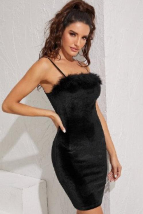 Black Velvet Fur Dress