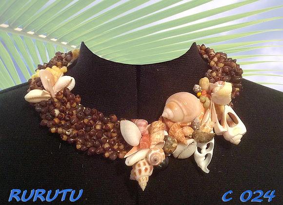"""""""RURUTU"""" Collier de Coquillages entiers et tranchés"""