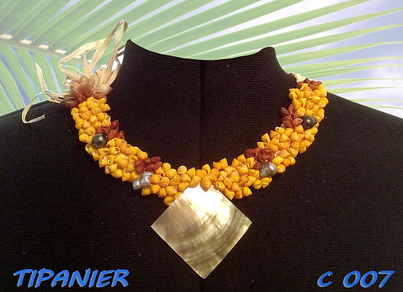 """""""TIPANIER"""" collier Coquillages, Nacre et Perles"""