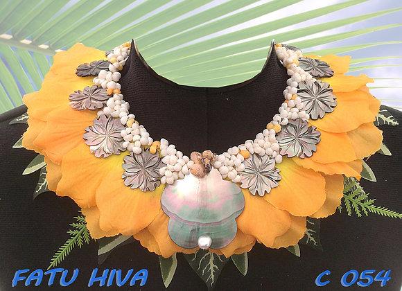 """""""FATU HIVA"""" Collier de Coquillages, Nacres, Perles et Feuillages"""
