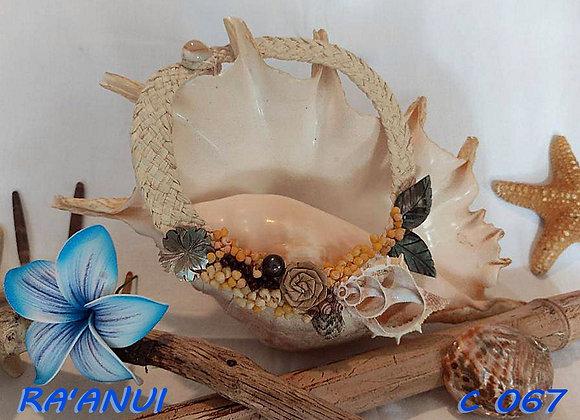 """""""RA'ANUI"""" Collier de Coquillages, Nacres et Perles"""