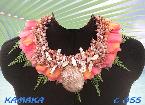 """KAMAKA"" Collier de Coquillages et Feuillages"