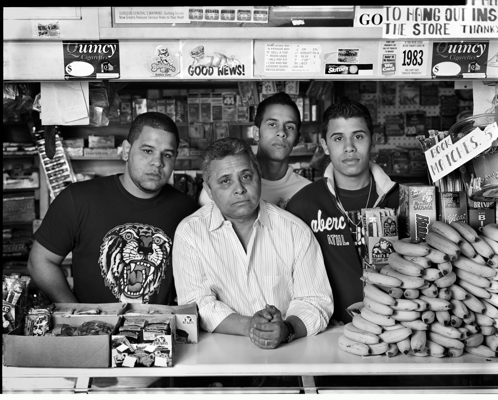 Bodega owner Juan Salvador and sons. Jersey City, NJ, 2007
