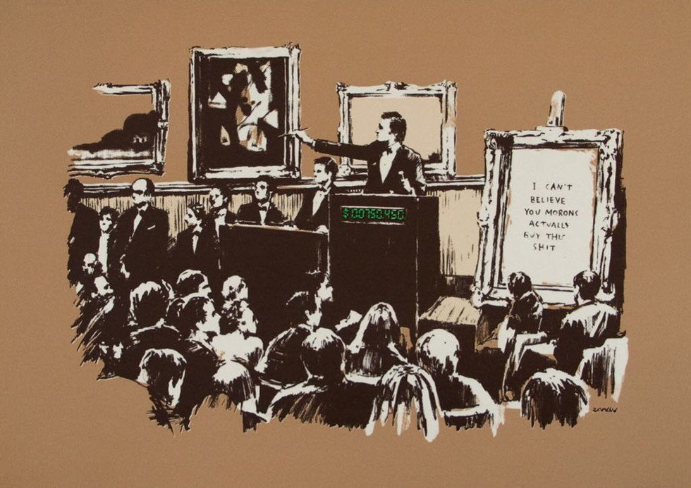 Courtesy of Pest Control Office, Banksy, Morons Sepia, 2007