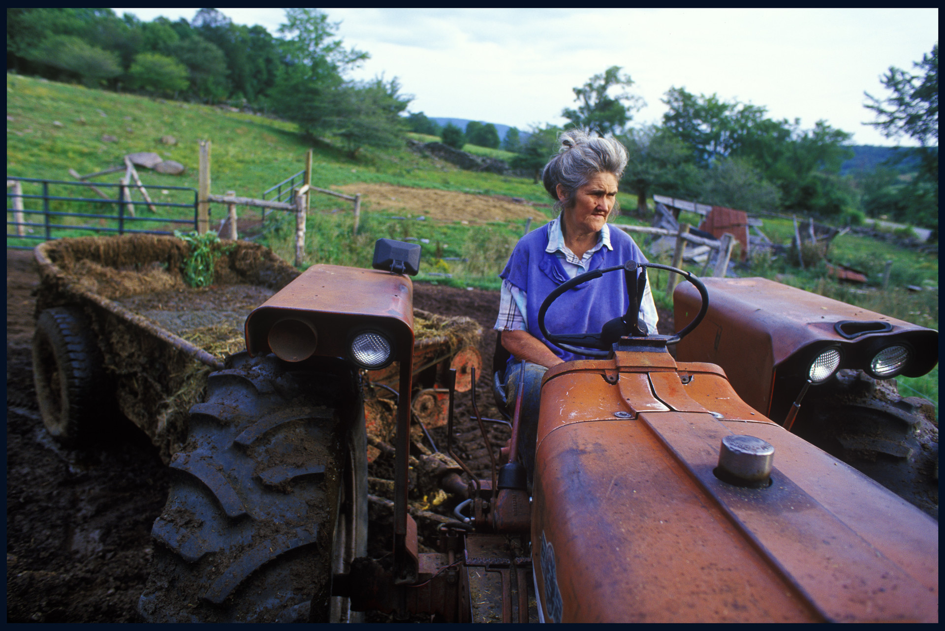 Donna Champlin on her tractor. Delaware County, NY, 1996