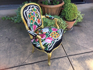 Vintage Chanel Silk Scarf Upholstered Chair