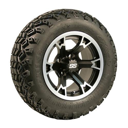 (4) 12x7 3:4 Offset Raven Machined & Black Wheels (4) 22x11-12 Sahara Classic A/