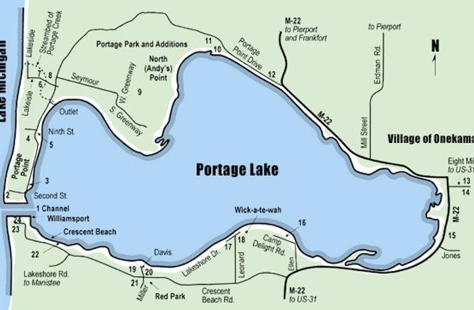 portage lake historic sites map