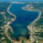 aerial view of portage lake