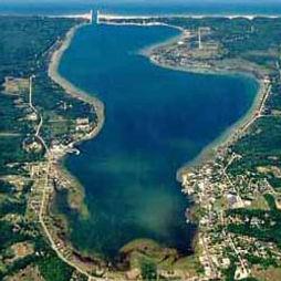 aerial view of portage lake