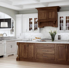 Kitchen - contrasting white with wood