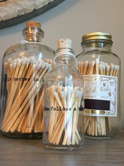 Vintage & Apothecary Match Bottles