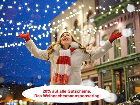 Der Weihnachtsmann sponsort alle Gutscheine mit 20% bis zum 24.Dez.