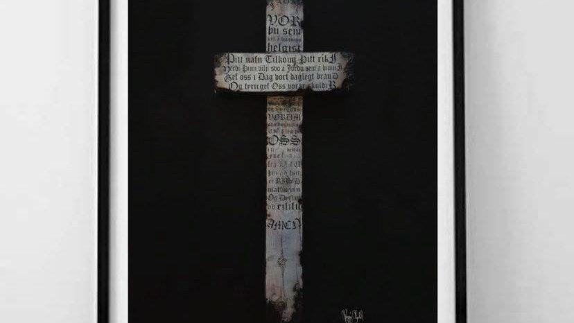 Faðir vor kross  40x50cm (The Lords Prayer kross)