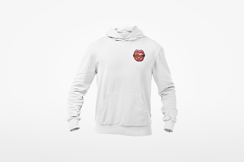 HUNGRY FOR BUCKETS HOODIE- Embroidery Logo (White)