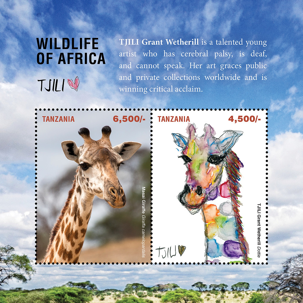 One of 2 'Wildlife of Africa' Tanzanian stamp sheets