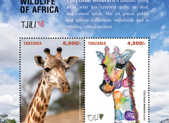 "Tanzania use four TJILI paintings for their ""Wildlife of Africa"" national stamps"