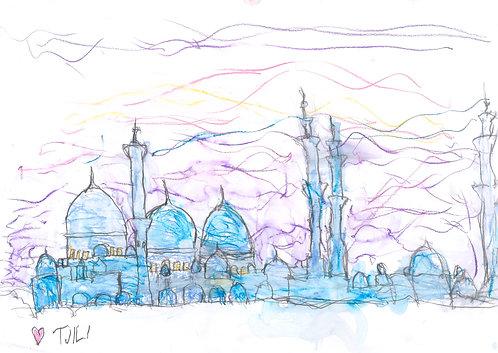 Sunset at Sheikh Zayed Grand Mosque
