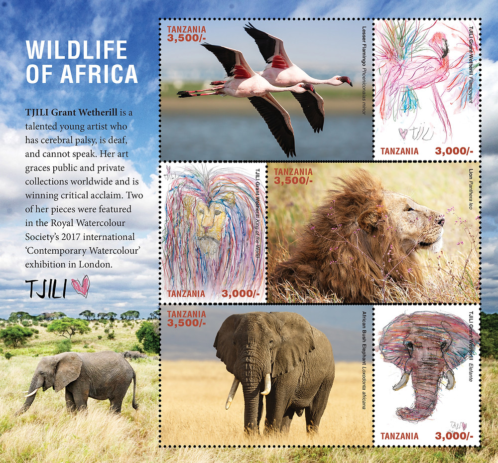 "Wildlife of Africa stamps - ""Flamboyant"", ""King of the World"" and ""Elefante"""
