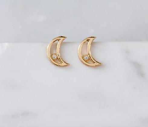 Crescent Moon Gold Zircon Earrings