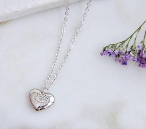 Silver Evil Eye Heart Pendant Necklace