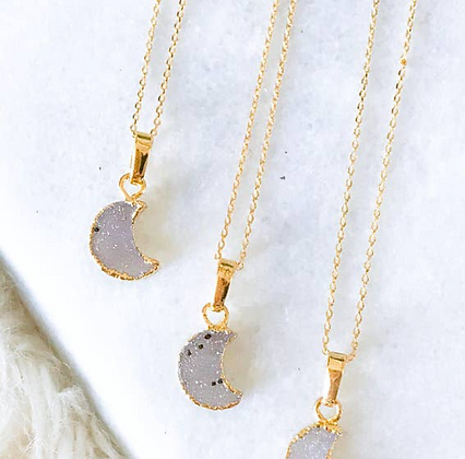 druzy quartz tiny moon necklace