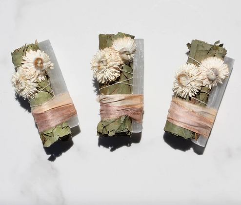 Eucalyptus + Selenite Crystal Smudge Bundle