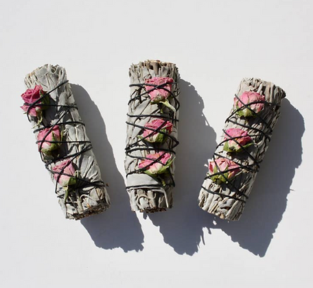 white sage & rose bud smudge stick